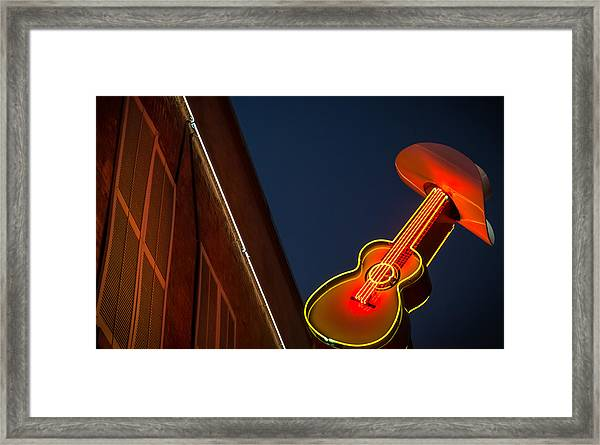 Guitar And Hat Framed Print