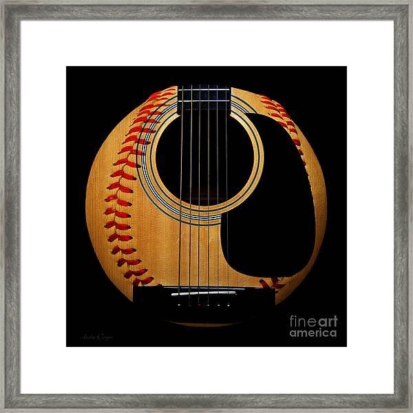 Guitar Baseball Square Framed Print