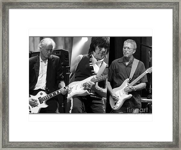 Guitar Legends Jimmy Page Jeff Beck And Eric Clapton Framed Print
