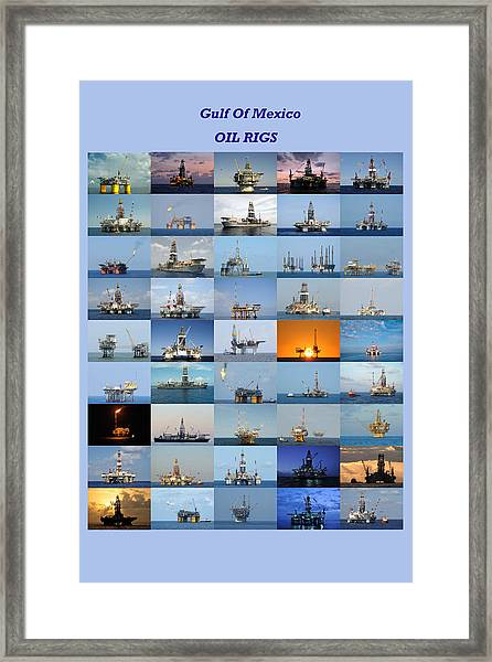 Gulf Of Mexico Oil Rigs Poster Framed Print