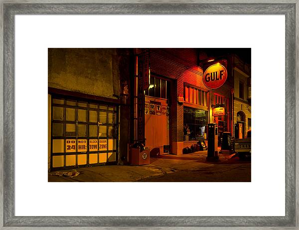 Gulf Oil Vintage Night Time Horizontal Framed Print
