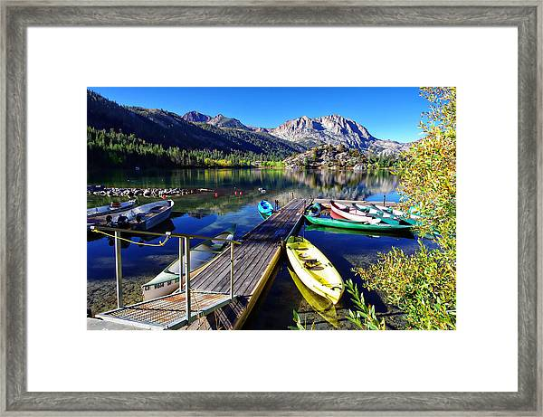 Gull Lake Marina Fall Morning Framed Print