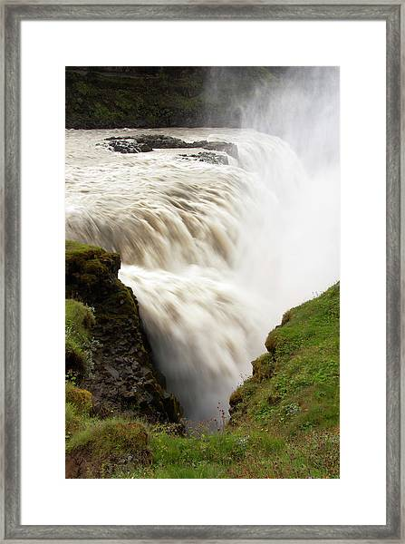 Gullfoss Golden Waterfall On River Framed Print by Martin Moos