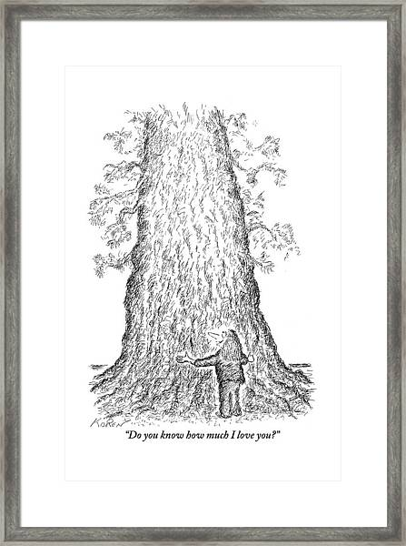 Guy Hugging A Giant Tree And Speaks To It Framed Print
