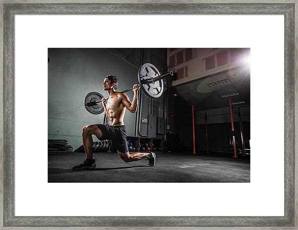 Gym Training With A Barbell Framed Print