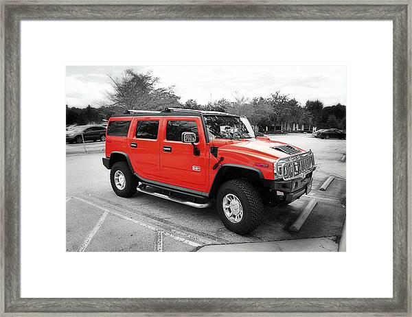 Red Hummer H2 Series  Framed Print