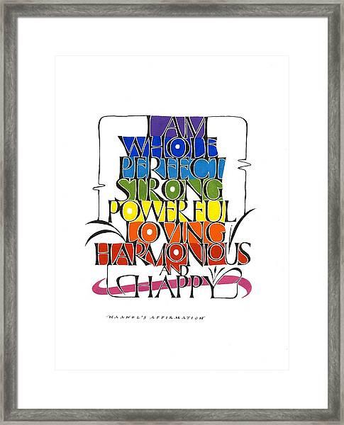 Haanel Affirmation Framed Print
