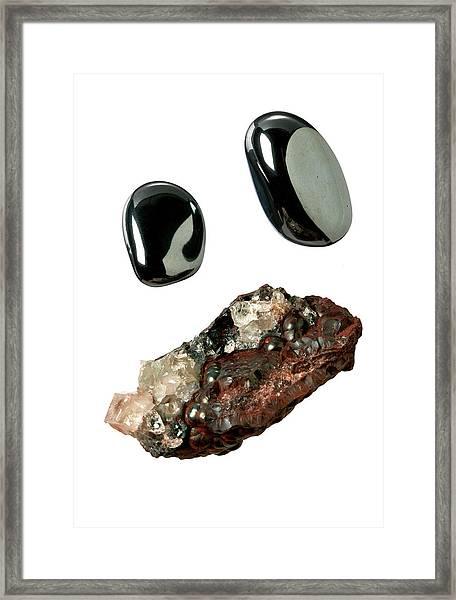 Haematite Group Of Stones Framed Print