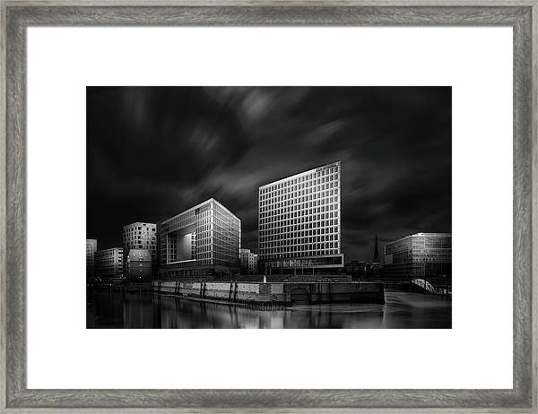 Hafencity And Spiegel Office Building Framed Print