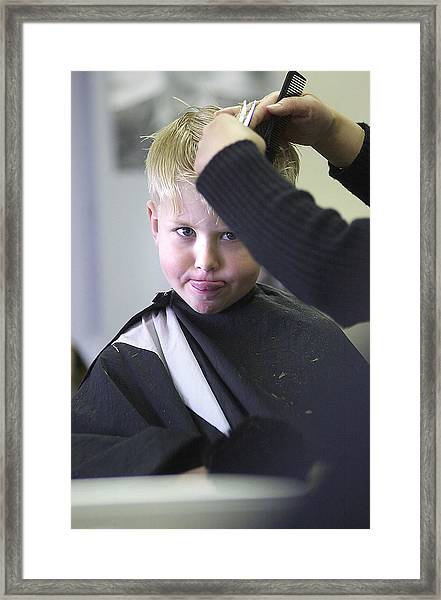 Hair Cut Kid Framed Print