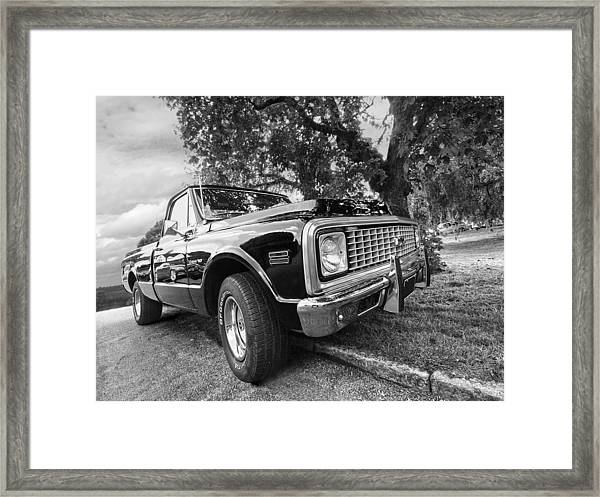 Halcyon Days - 1971 Chevy Pickup Bw Framed Print