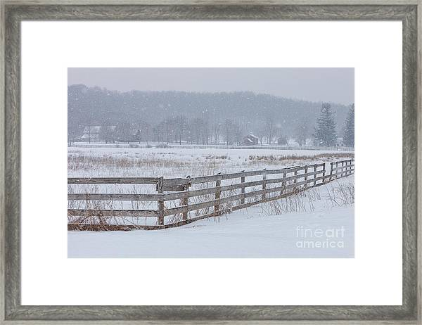 Hale Farm At Winter Framed Print by Joshua Clark