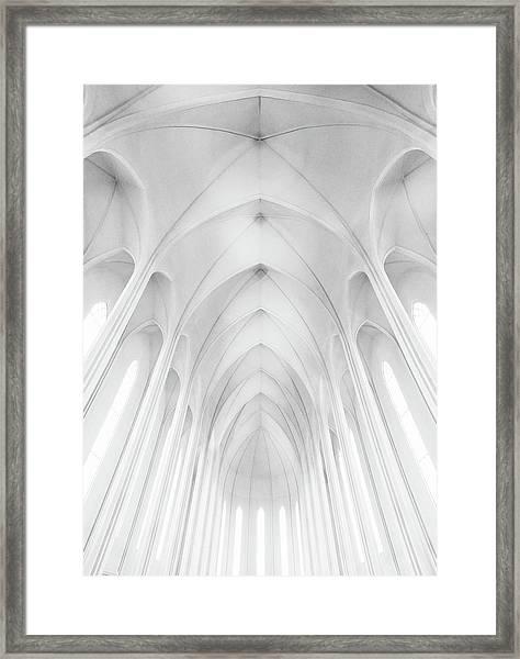 Hallgrimskirkja Church  In Iceland Framed Print by Charles Cho