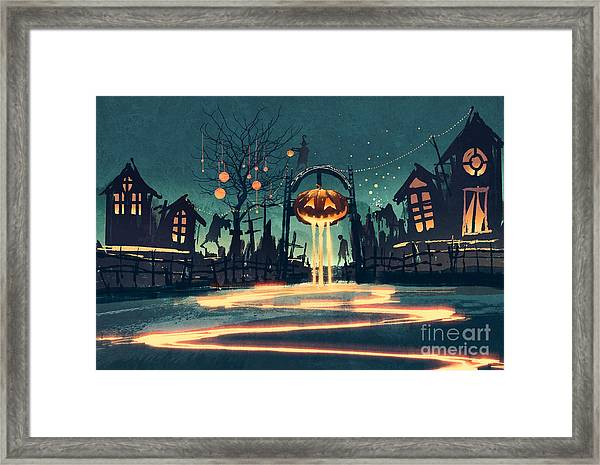 Halloween Night With Pumpkin And Framed Print