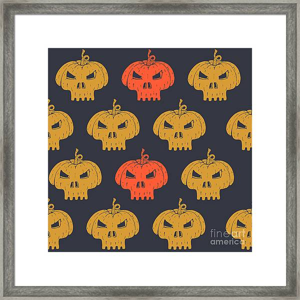 Halloween Seamless Pattern With Framed Print