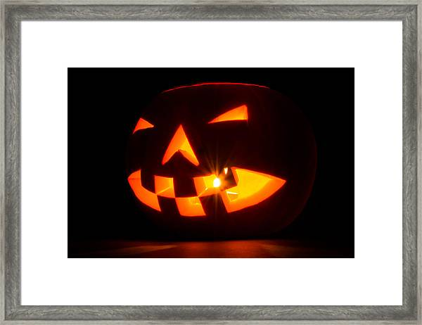 Framed Print featuring the photograph Halloween - Smiling Jack O' Lantern by Scott Lyons