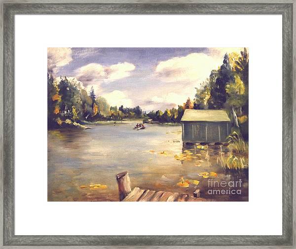 Hamlin Lake Dock 1945 Framed Print