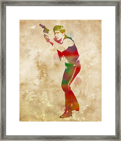 Han Solo Star Wars Watercolor Portrait On Worn Distressed Canvas Framed Print