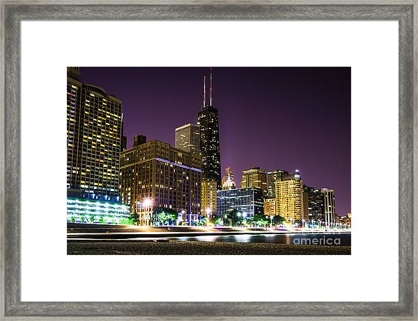 Hancock Building With Dusk Chicago Skyline Framed Print