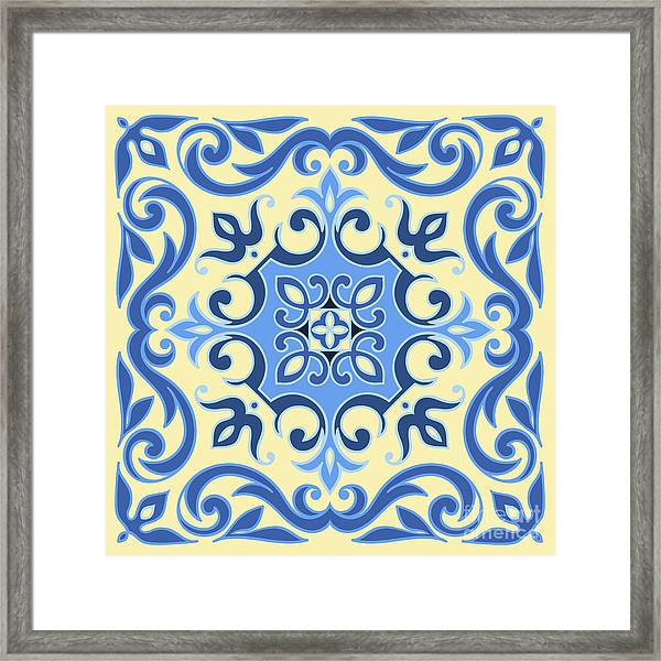 Hand Drawing Tile Pattern In  Blue And Framed Print