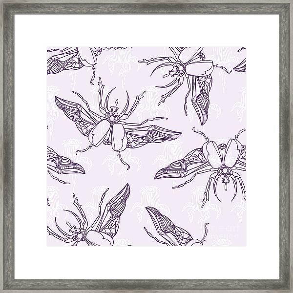 Hand Drawn Beetles Seamless Pattern Framed Print