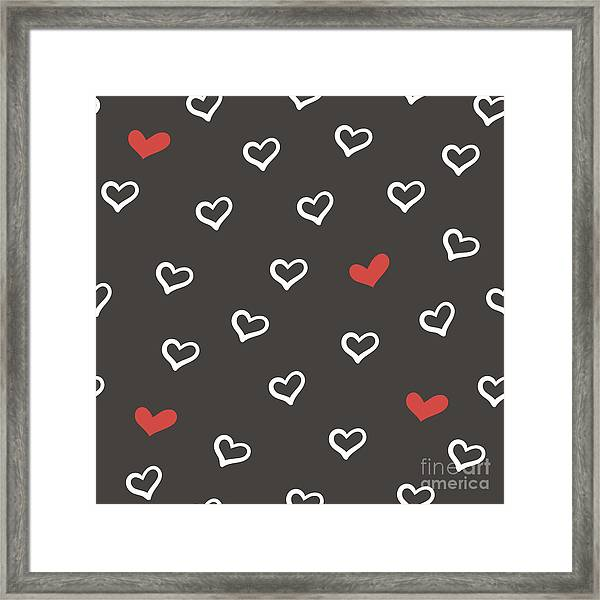 Hand Drawn Doodle Seamless Pattern With Framed Print