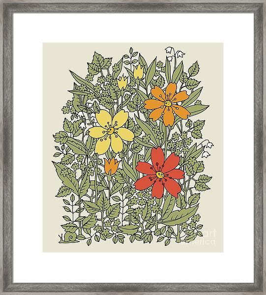 Hand Drawn Flowers On White Background Framed Print