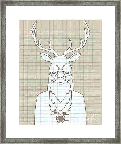 Hand Drawn Hipster Deer In Sunglasses Framed Print