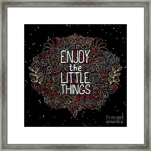 Hand Drawn Label With Phrase Enjoy The Framed Print