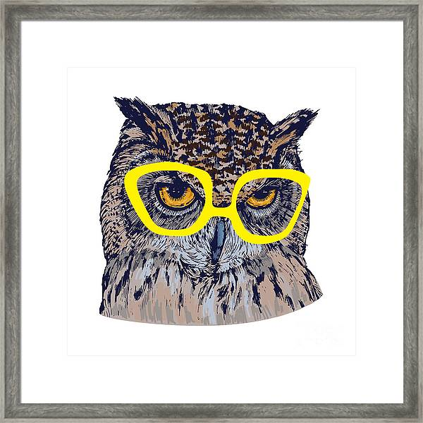 Hand Drawn Owl Face With Yellow Framed Print