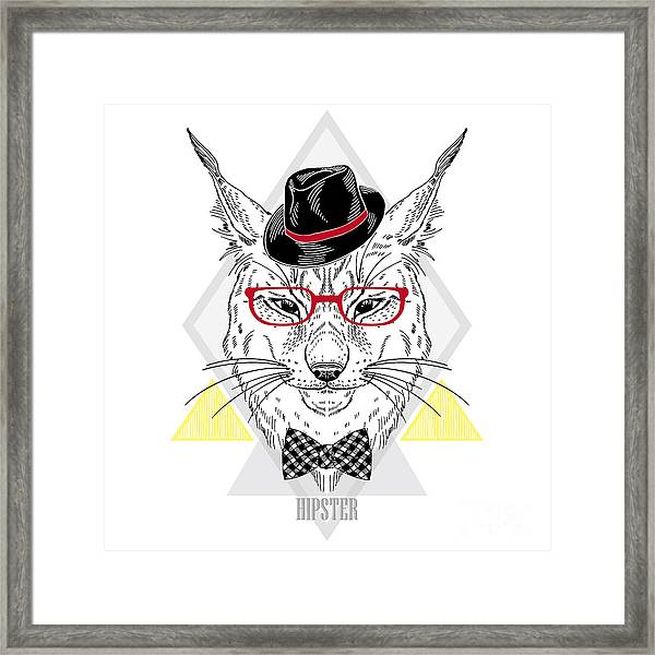 Hand Drawn Portrait Of Hipster Lynx In Framed Print