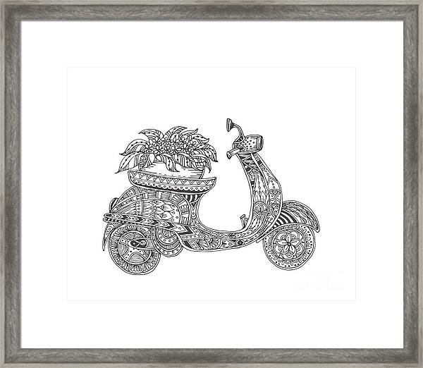 Hand-drawn Scooter With Ethnic Floral Framed Print