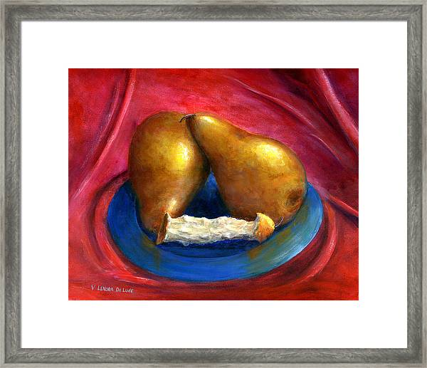 Hand Painted Art Fruit Still Life Pears Framed Print