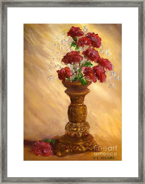 Hand Painted Still Life Red Flowers Gold Vase Framed Print