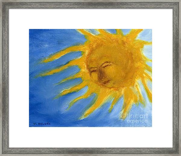 Hand Painted Sun Face Old Sol Framed Print