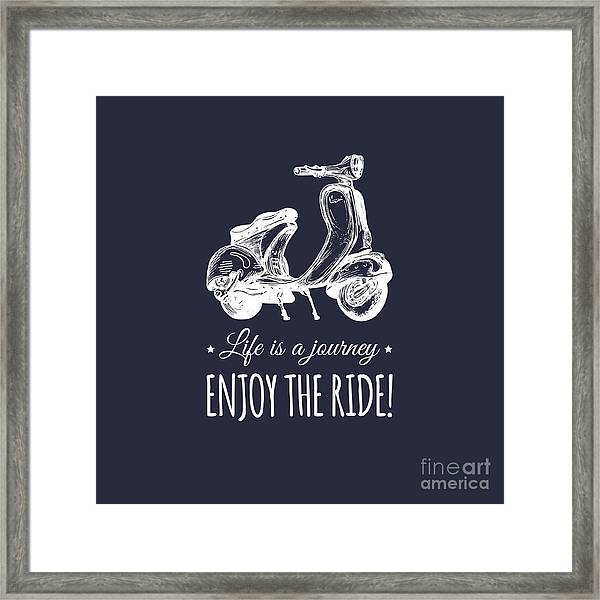 Hand Sketched Scooter Banner With Framed Print