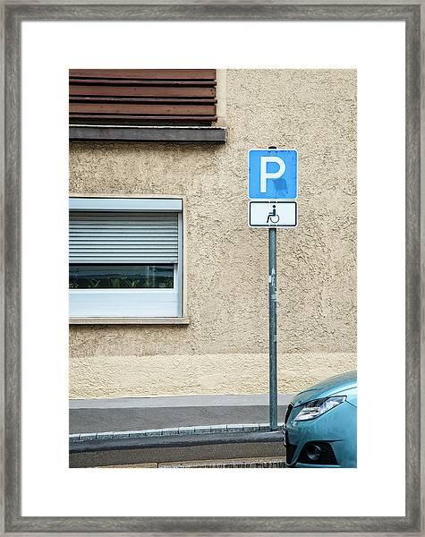 Handicapped Parking Sign And Car Framed Print
