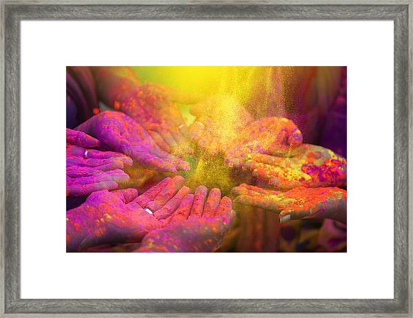 Hands And Colorful Powders Of The Holi Festival Framed Print by Mammuth