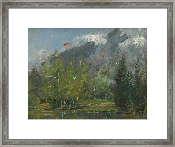 Hang Gliders At Chamonix, 2007 Oil On Canvas Framed Print
