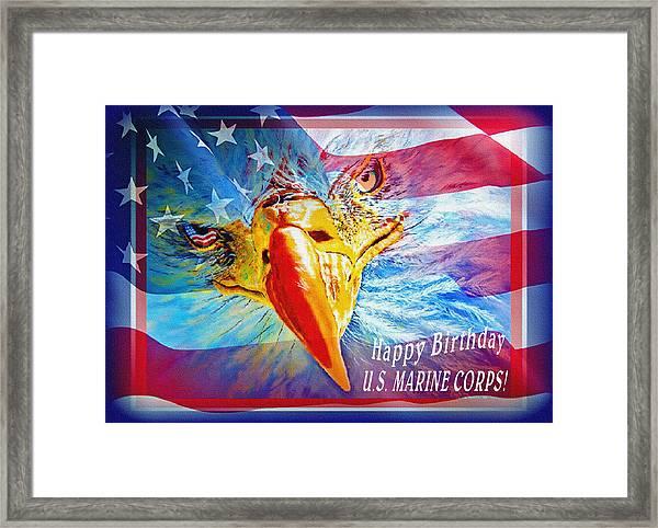 Happy Birthday Marine Corps Framed Print