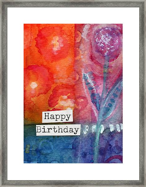 Happy Birthday- Watercolor Floral Card Framed Print