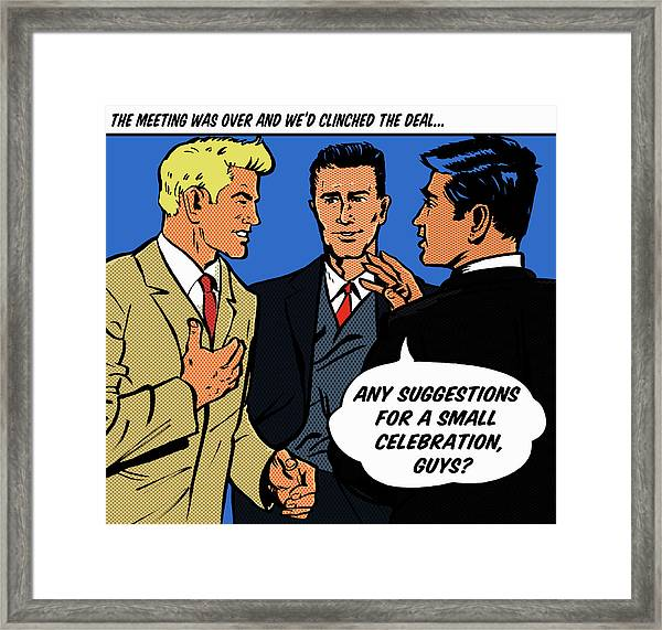 Happy Businessmen With Speech Bubble Framed Print
