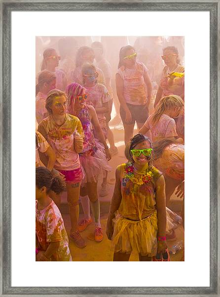 Happy Dirty Girl  Framed Print by Debbie Cundy