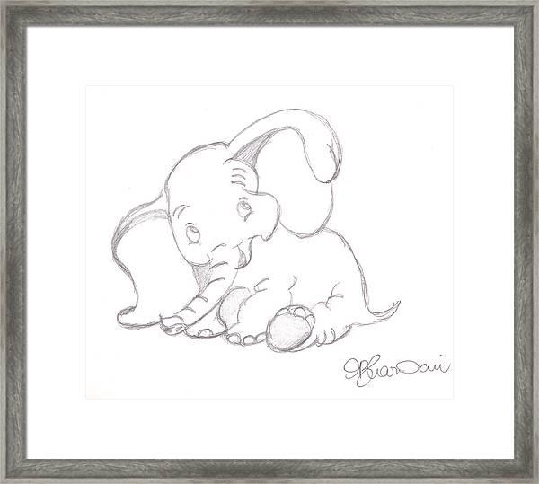 Happy Dumbo Framed Print