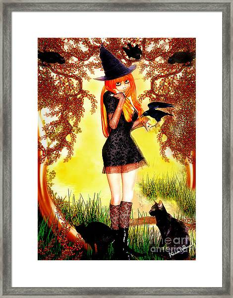 Happy Halloween Cute Witch Framed Print