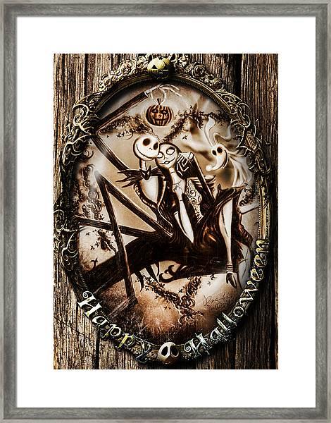 Happy Halloween IIi Sepia Version Framed Print