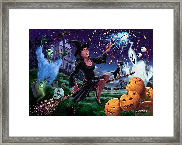 Happy Halloween Witch With Graveyard Friends Framed Print