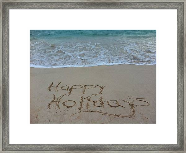 Happy Holidays Beach Messages Framed Print