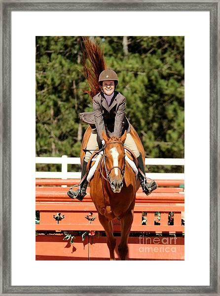 Happy Hunter Horse Framed Print