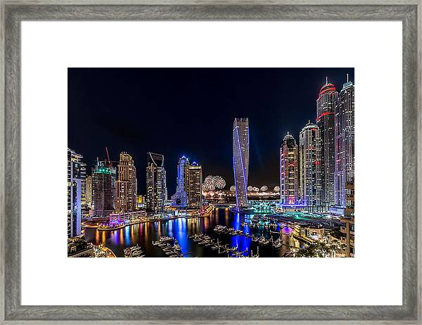 Happy New Year Dubai Framed Print